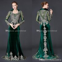 Wholesale Velvet Dress Tea Length - real photos Arab Dubai green velvet long sleeves evening gowns 2018 heavily embroidery crystals beaded high neckline formal gowns