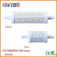 Wholesale R7s 14w 118mm - FREE SHIP R7S LED Bulb 7W 14W SMD2835 85-265V 78mm 118mm LED Lamp Bulb R7S Light 360 Degree lighting lamps Halogen Lamp Floodlight