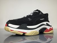 Wholesale Baseball C - 2017 Triple S GOMMA BLACK NOIR C BROD.TRESSEE GR.G.B.O GR.G.S NOIR ROUGE BLANC Casual Shoes PU Black Red Sneakers