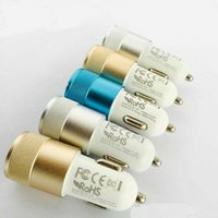 Wholesale S4 Mini Portable Charger - High Quality Portable Mini Aluminum Dual 2 Port 2.1A USB Car Charger Cable Universal Adapter For Iphone Ipad Samsung Galaxy S4 Note