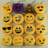 Wholesale lovely lovers for sale - 8cm Cute Lovely Emoji Smile keychain Yellow QQ Expression face key chain key rings hang doll toy for bag car
