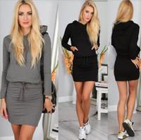 gri hoodie elbisesi toptan satış-Sıcak Moda Sonbahar Güz Kış Kadın Siyah Gri Kazak Elbise Fleeced Hoodies Uzun Kollu İnce Maxi Elbiseler Sml XL Kış Elbise