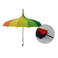 Wholesale Rainbow Umbrella Free Shipping - Free Shipping Rainbow Design Princess Royal Sun Umbrella Lady Pagoda Long-Handled Umbrella Christmas Gift ZA1171