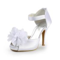 chaussures à talons achat en gros de-Fleur De Mode Belle Satin Style délicat Chaussures De Mariage Sur Mesure 10 cm À Talons Hauts Chaussures De Mariée Parti Bal