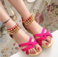Wholesale Low Red Heels Straps - Women Sandals Fashion Bohemia Beade Ankle Strap Flower Summer Shoes Open Toe Flats Heel Female Sandals