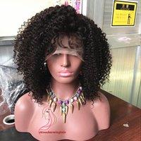 melhor cabelo humano brasileiro venda por atacado-150% Kinky Curl Perucas de Cabelo Humano Brasileiro Do Cabelo Virgem Afro Sem Cola Encaracolado Perucas Cheias Do Laço Frente Lace Wigs Melhor Qualidade