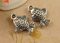 Wholesale Small Pendants Tibetan Silver - A3887 12*16MM Antique tibetan silver carp charms, vintage fish pendants retro jewelry wholesale antique small thing, brass metal charm