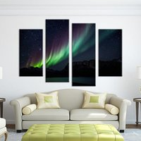 Wholesale Digital Printed Galaxy - 4 Panel Colorful galaxy light paints Wall painting print on canvas for home decor paints on Wall pictures art framed w0326