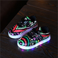 Unisex outdoor lightening - New Style Led Light Baby Shoes Skate Shoes Printed Color Lighten Sporting Shoes Boys Girls Casual Footwear PU Leather Shoes
