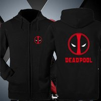 Wholesale Wading Jacket Xl - Wholesale-Deadpool Zip Up Hoodies Jackets for men Coats Wade Wilson Hooded Death Pool Pure Cotton Sweatshirts Thick Winter Clothes