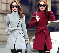 Wholesale Trench Coat Women Fall - Elegant 2017 Fall Winter Coat Plus Size Korean Women Stand Collar Wool Coat Midi Outerwear Long Tunic Trench Coat Overcoat With Belt