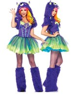 Wholesale Sexy Scary Costumes - Wholesale-Sexy Purple Green Scary Posh Monster Halloween Costume With Tutu