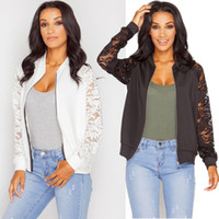 Wholesale Stylish Women S Coats - Stylish Womens Ladies Floral Lace Bomber Jacket Vintage Autumn Casual OL Blazer Suit Coat Retro Army Biker Tops New Arrival
