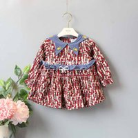 Wholesale Thick Girl Dresses Sleeves - INS styles new Girl kids spring winter long sleeve Triangle Round collar dress full cats print girl charming thick dress girl's dress