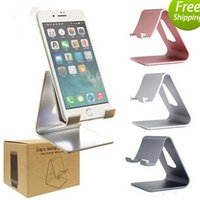 Wholesale Mini Luxury Mobile Phone - Universal Luxury Aluminum Metal Mobile Phone Tablet Desk Holder Stand for iPhone ipad mini Samsung Smartphone Tablets Laptop