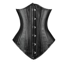 Wholesale Body Spirals - Charmian Women's Double Spiral Steel Boned Faux Leather Underbust Corset Body Shapper Waist Trainer Corselet Free Shipping