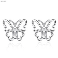 Wholesale cheap women earrings - 925 silver stud earrings butterfly fashion jewelry for women minimalist style charm factory global hot wholesale cheap free shipping