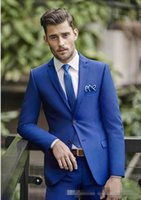 Wholesale Tuxedo Styles For Prom - Wholesale- 2017 New Style Top Quality Blue Groom Tuxedos Men's Suits For Wedding Dress Prom Clothing Blazers(Jacket+pants+tie)