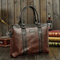 Wholesale Office Works Computers - Wholesale- vintage men briefcase male work handbag leather business bag laptop Handbags shoulder bags office briefcases Double belt 6V3014