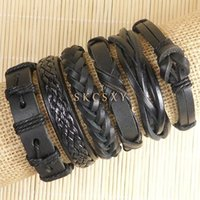 Wholesale Leather Belt Slide Charm Bracelet - 6Pcs lot Wholesale Retro Men Wrap Black Bracelet Bangles Wristband Belt Handmade Vintage Bracelets Genuine Cowhide Leather Bracelets-TE136