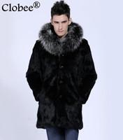 Wholesale Sell Rabbit Fur Coat - Best selling! Winter Vetement men faux fur coat Elegant black rabbit warm cozy long section coat raccoon fur collar coat
