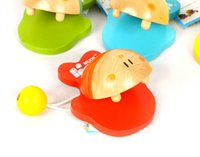 Wholesale Infant Castanets - Baby Toys 4Colour Cartoon Fish Castanets 4Pcs Lot Wooden Toys Child Educational Music Toys Aniaml Castanets Infant Gift