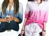 Wholesale Long Sleeve Shirt Types - 2016 New Fashion Button-Type Deep V-Neck Shirt Joker Printed Shirts Gradient Blouse Long Sleeve Shirts Female