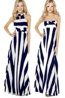 ingrosso cinghie versatili-caro-amante roupas femininas vestidos Cinghie versatili Navy White Stripe Maxi abito boho stampato