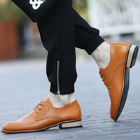 Wholesale Thin Men Dress Shoes - Ultra-thin fashion shoes fashion Oxford shoes mens quality leather shoes, business shoes, white shoes with black shoes hand sewing lace up