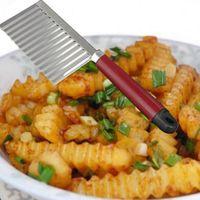 Wholesale Knife Potato Wholesale - New Stainless Steel Potato Chip Dough Vegetable Crinkle Wavy Slicer Knife Food Quality Plastic Handle