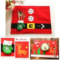 Non Woven Fabric Stocked Rectangle Christmas Placemats Knife Fork Mats Xmas  Table Mats Santa Claus Decoration