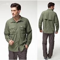 Wholesale Topsky Outdoor - Wholesale-Topsky outdoor Hiking fishing shirt Removable sleeves multicam tropic dress shirts short sleeve shirt casual shirt