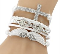 Nueva DIY Vogue Jewelry Leather Cross Angel's Wing Rhinestone Charm Bracelet