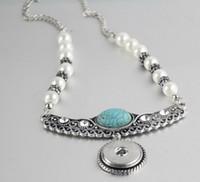 Wholesale initial diamond pendants - 18MM NOOSA chunks snap button jewelry Alloy bottom button Necklace Turquoise pearl diamond necklace Round Pendant noosa necklace sanps