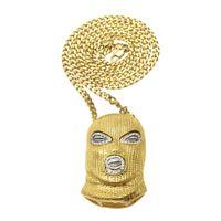 Wholesale woman mask pendant resale online - Men Women Hip Hop Crystal Against Anti Terrorism headgear Necklaces Pendants Golden CSGO mask Chain Bling Jewelry Gifts