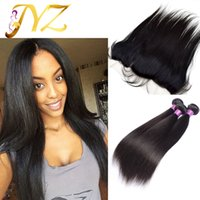 Wholesale Virgin Indian Pcs - Straight Brazilian Hair Straight Human Hair 3 Pcs Free Shipping Full lace frontal Free Middle 3 Way With Baby Hair Bleached Knots