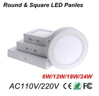 Slim LED luci di pannello 24W 18W 12W 6W rotonda e superficie quadrata a parete plafone 120Degree SMD3528 LED Downlights globale di tensione