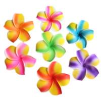 flores de espuma de decoracion al por mayor-7CM Head 50PCS Multicolor Fleur De Frangipanier Artificielle Foam Plumeria Flores, Hawaiian Party Flowers Weddding Decorations