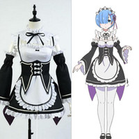 Wholesale Anime Re Life in a different world Zero kara Hajimeru Isekai Seikatsu Rem Ram Uniform Cosplay Costume Maid Dress with Hair Bands