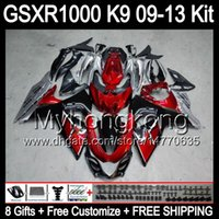 Wholesale Dark red gifts For SUZUKI GSXR1000 GSXR HM1 GSX R1000 K9 GSXR Fairing Kit Glossy red