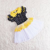 Wholesale Christmas Dresses Low Price - Low price Girls dress Sunflower dress Net yarn color matching short-sleeved dress black and white Princess dress