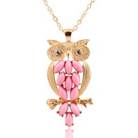 Wholesale Owl Pendant Pink - Pendant Necklaces for women Vintage Pink Gem owl chain long necklace jewelry for women Ancient Retro Owl Sweater Chain Necklace