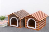 estera de bambú para mascotas al por mayor-Mat productos para mascotas de la perrera Casa de mascotas de primavera y verano Sólido bambú cómodo nido envío gratis HK80