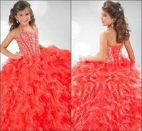 Lovely Girls Pageant Dresses 2016 Halter com Beads Corset Ruffles Organza Andar Comprimento Hot Selling Rhinestones Child Party Gowns RG6349