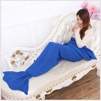 Wholesale Handmade Wool Blankets - Adult Handmade Mermaid Tail Blankets 195*90cm Crochet Mermaid Blankets Mermaid Tail Sleeping Bags Air-Condition Blanket Knit Sofa Blankets