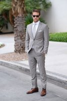 Wholesale Men Cheap Business Suit - Light Gray Wedding Mens Suits Slim Fit Bridegroom Tuxedos For Men Two Pieces Groomsmen Suit Cheap Formal Business Jackets With Tie