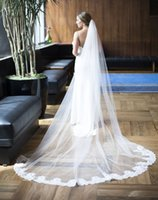 Wholesale Bridal Lace Cathedral Veil - Single Tier Lace at Bottom Wedding Veil 2017 Cathedral White Ivory Elegant Bridal Veil with Comb Wedding Accessories T-36