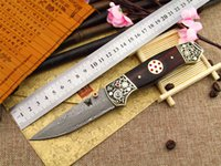 Wholesale Cooper Steel - DM-010 2015 Hot Sale Handmade Damascus Steel Folding Survival Camping Hunting Knife with cooper handle free shipping