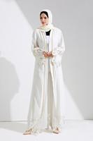 Wholesale muslim abaya clothing - 2018 New Muslim Women White Lace Cardigan Long Sleeve Islamic Open Abaya Long Robes Arab Worship Clothes