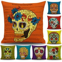 Caso cuscino colorato della testa del cranio federa Halloween regalo Home Decor Cuscino quadrato sofà Cuscini decorativi Home Auto